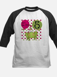 Frog 5th Birthday (pink) Kids Baseball Jersey