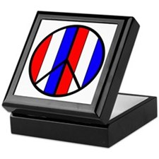 Red White Blue Peace Sign Keepsake Box