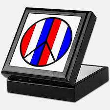Red White Blue Peace Sign Keepsake Box
