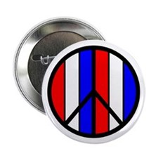 Red White Blue Peace Sign Button
