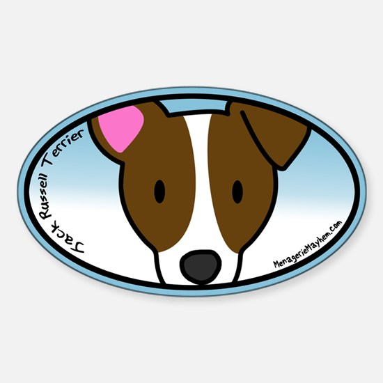 Anime Jack Russell Terrier Oval Decal