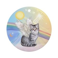 Silver Tabby cat angel Ornament (Round)