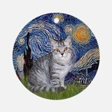 Starry Night & Silver Tabby Ornament (Round)