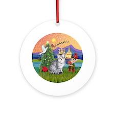 Xmas Fantasy & Silver Tabby Ornament (Round)