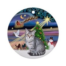 Xmas Magic & Silver Tabby Ornament (Round)