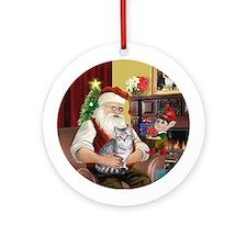 Santa's Silver Tabby Ornament (Round)