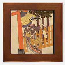 Japanese Women in Kimono Framed Tile