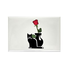 Black Cat and Rose Rectangle Magnet