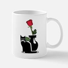 Black Cat and Rose Mug
