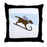 Chocolate Labrador Sled Dog Throw Pillow