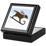 Chocolate Labrador Sled Dog Tile Keepsake Box