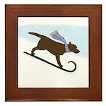Chocolate Labrador Sled Dog Framed Tile