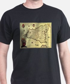 Vintage Map of Sicily Italy (1600s) T-Shirt