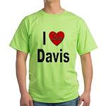 I Love Davis (Front) Green T-Shirt