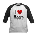 I Love Moore (Front) Kids Baseball Jersey