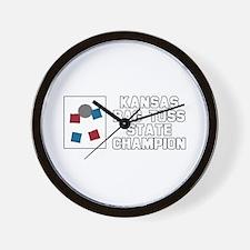 Kansas Bag Toss State Champio Wall Clock