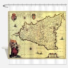 Vintage Map of Sicily Italy (1600s) Shower Curtain