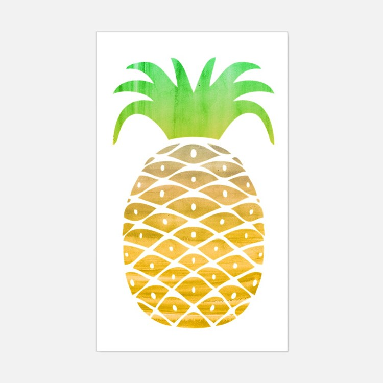 pineapple stickers pineapple sticker designs label stickers cafepress. Black Bedroom Furniture Sets. Home Design Ideas