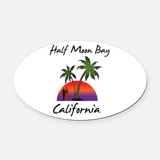 Half Moon Bay California Oval Car Magnet