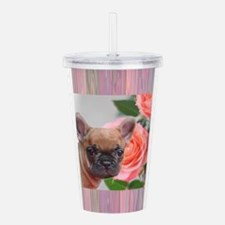 Pink French Bulldog Acrylic Double-wall Tumbler