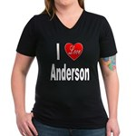I Love Anderson (Front) Women's V-Neck Dark T-Shir