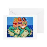 Mermaids Merbabes Beach Greeting Cards (Pk of 10)