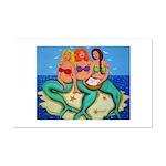 Mermaids Merbabes Beach Mini Poster Print
