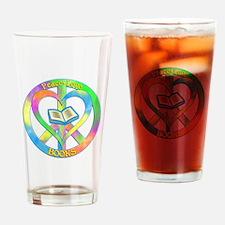Peace Love Books Drinking Glass