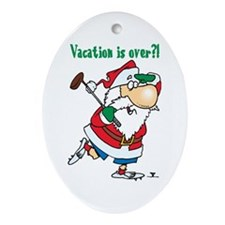 Vacation Santa Oval Ornament