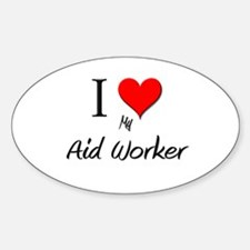 I Love My Aid Worker Oval Decal