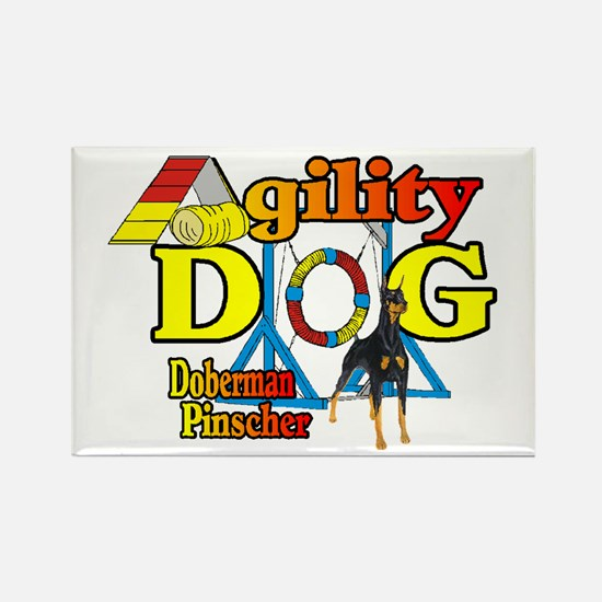 Doberman Agility Rectangle Magnet (10 pack)