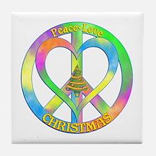 Peace Love Christmas Tile Coaster