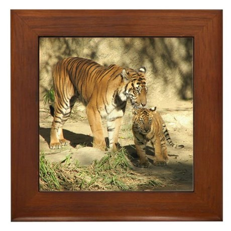 Helaine's Tigers Framed Tile