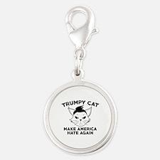 Trumpy Cat Silver Round Charm