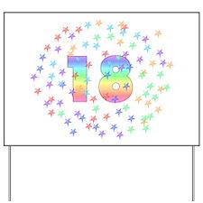 18th Birthday Pastel Stars Yard Sign