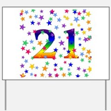 Rainbow Stars 21st Birthday Yard Sign
