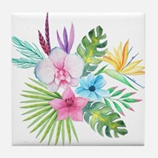 Watercolor Tropical Bouquet 3 Tile Coaster