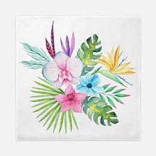Watercolor Tropical Bouquet 3 Queen Duvet