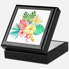 Watercolor Tropical Bouquet 6 Keepsake Box