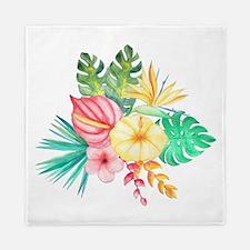 Watercolor Tropical Bouquet 6 Queen Duvet