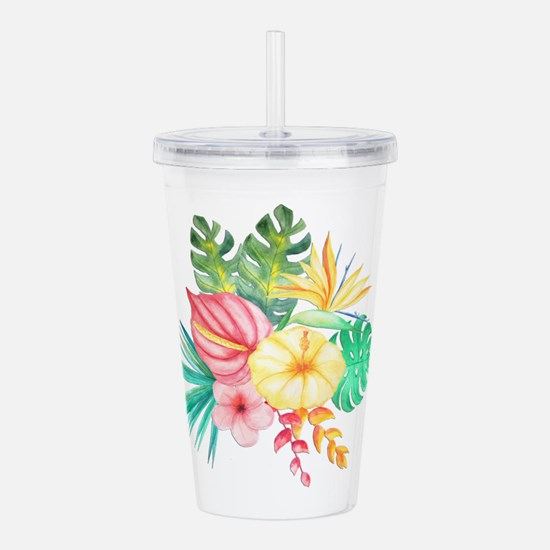 Watercolor Tropical Bo Acrylic Double-wall Tumbler