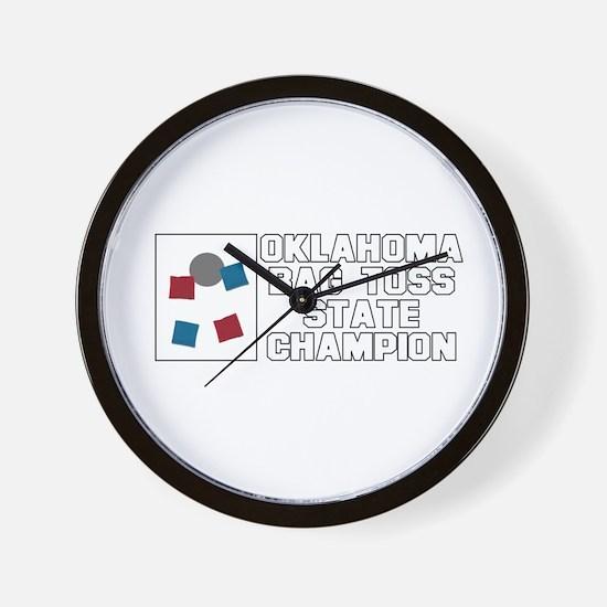 Oklahoma Bag Toss State Champ Wall Clock