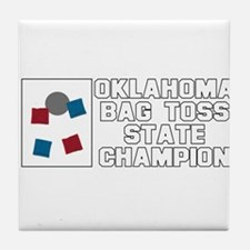 Oklahoma Bag Toss State Champ Tile Coaster