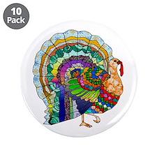 """Patchwork Thanksgiving Turkey 3.5"""" Button (10 pack"""