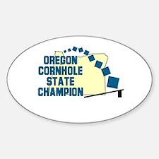 Oregon Cornhole State Champio Oval Decal