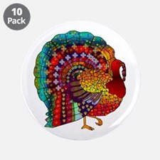 """Thanksgiving Jeweled Turkey 3.5"""" Button (10 pack)"""