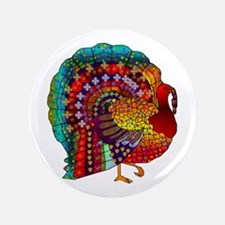"Thanksgiving Jeweled Turkey 3.5"" Button"