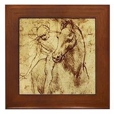 Leonardo da Vinci Horse Rider Framed Tile