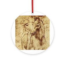 Leonardo da Vinci Horse Rider Ornament (Round)
