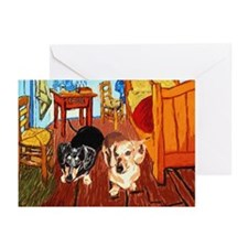 Double Dachshunds Van Gogh Greeting Cards (Pk of 1